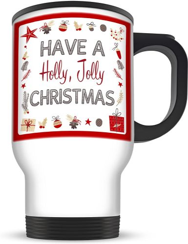 14oz Have A Holly Jolly Christmas Aluminium Travel Mug